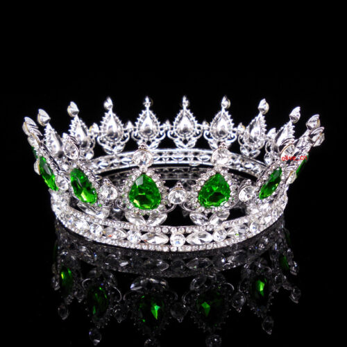 5cm High Green Luxury Crystal Silver King Crown Wedding Prom Party Pageant