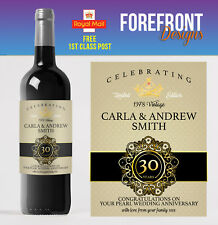 Item 3 Personalised Wine Bottle Label 30th Pearl Wedding Anniversary Gift