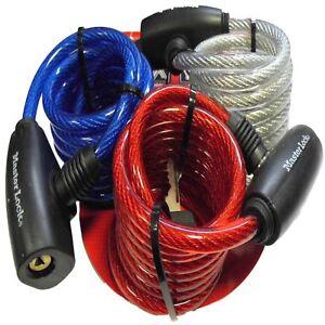 Black // 1.8m Tektalk LED Bike Lock//Illuminated Bicycle Cable Lock//Anti-Theft