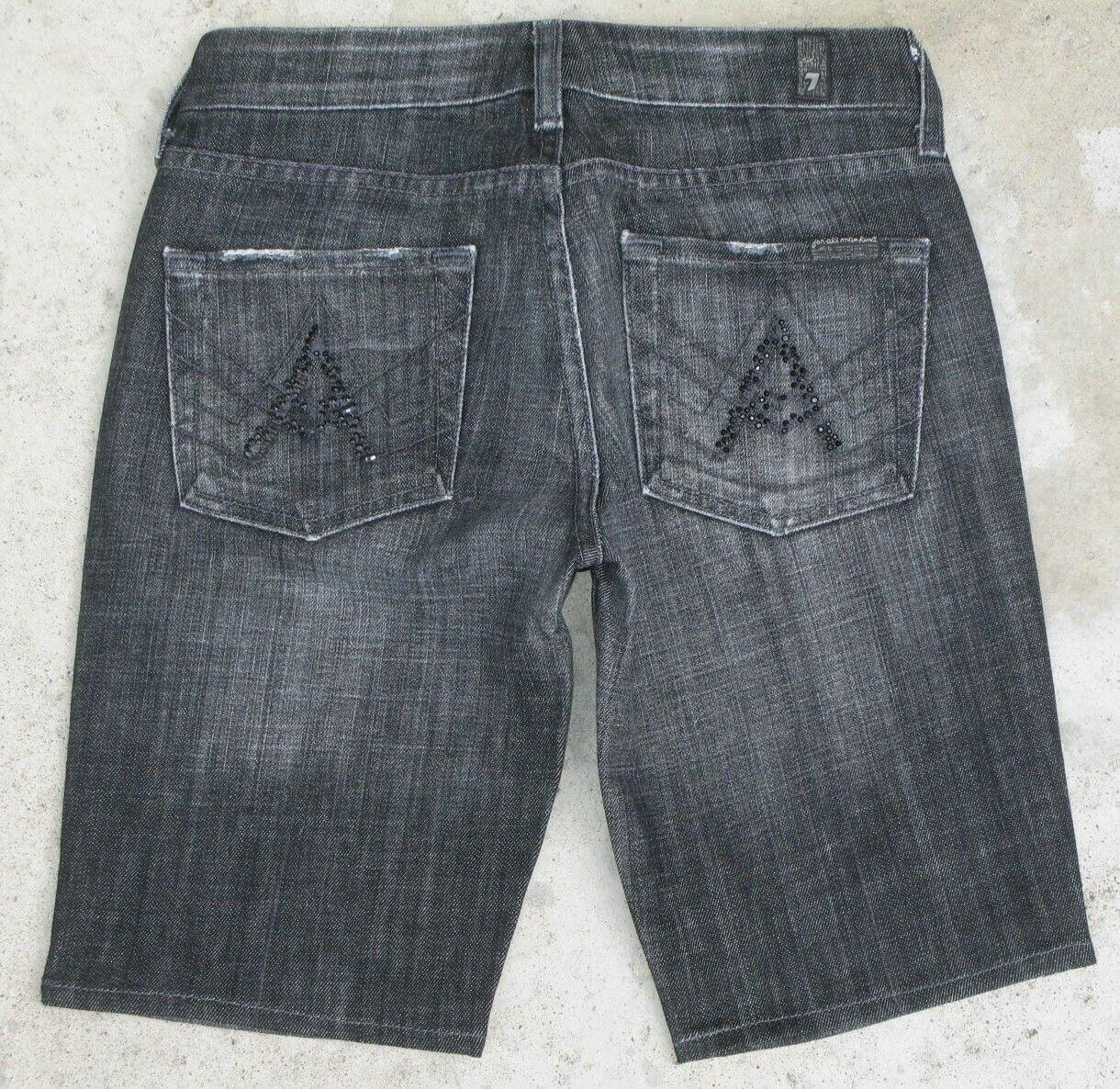 7 For All Mankind eine Tasche Denim Schaumlöffel Shorts Damen Sz 25 Schwarz