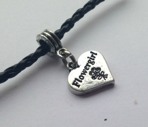 Black braid bracelet choose message charm from many in gift bag FAST DEL