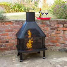LOG BURNER BBQ CHIMINEA BARBECUE GARDEN PATIO OUTDOOR STEEL FIRE PIT HEATER Wido
