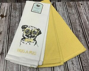 Details about NEW SPRING Set Of 3 Kitchen Towels Pug Dog Yellow White Nerd  Eye Glasses Bow Tie