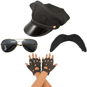 Gli adulti Gay Village People Costume Kit di accessori guanti cappello occhiali baffi Set
