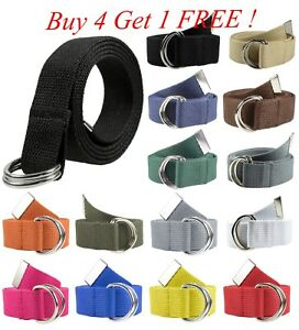 Canvas-Web-D-Ring-Belt-Silver-Buckle-Military-Style-for-men-amp-women