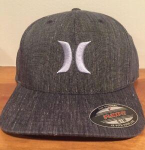6ebf1ab38c2 Hurley Black Suits Graphite Gray Stretch Fit Flexfit S M Cap Hat  30 ...