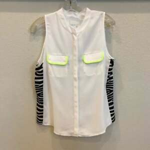 Line-amp-Dot-Sleeveless-Blouse-White-with-Zebra-Print-Inset-Size-Large-NEW