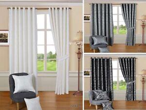 Paisley-Jacquard-Anillo-con-ojales-cortinas-Gris-Plata-Blanco-Y-Negro-Totalmente-Forrado