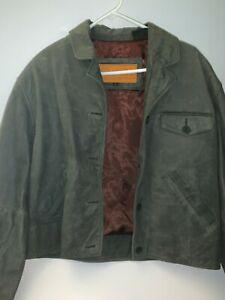 VINTAGE-TIMBERLAND-WOMEN-039-S-COWHIDE-LEATHER-COAT-WATERPROOF-OLIVE-GREEN-SIZE-L