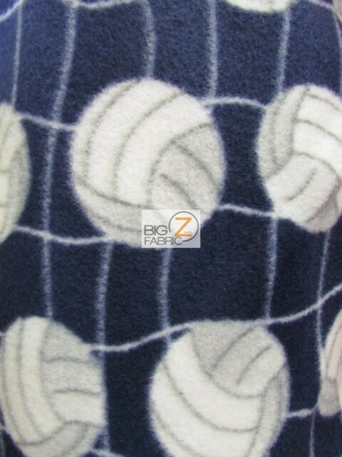 1065 VOLLEYBALL WHITE NET YELLOW FLEECE PRINTED FABRIC BY THE YARD BLANKET