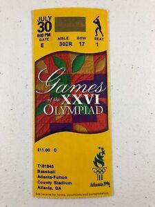 1996-Atlanta-Olympics-Baseball-Ticket-7-30-96-8-00pm
