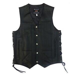4Fit™ Men's Black Genuine Leather 10 Pockets Motorcycle Biker Vest New S To 12XL