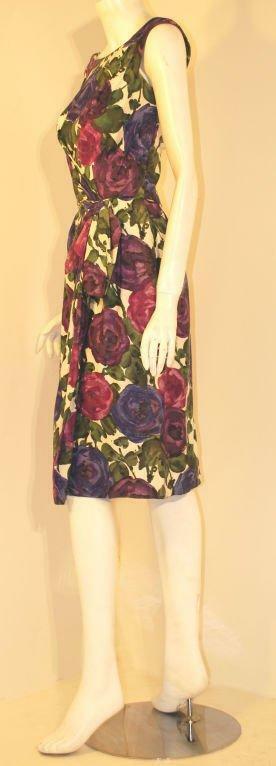 CEIL CHAPMAN 1950s Violet Cotton Floral Print Wig… - image 3