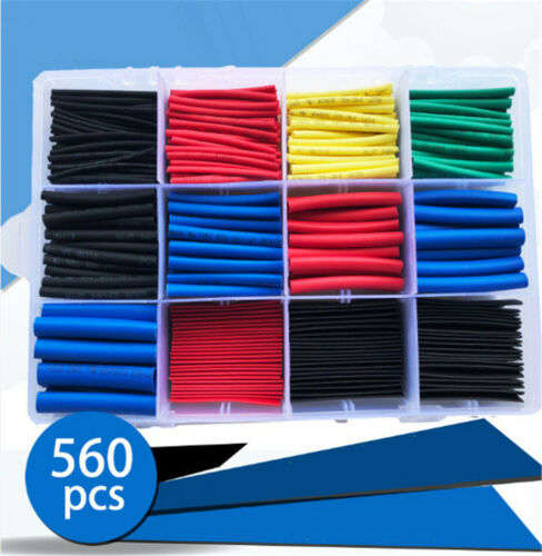 560Pc 12 Sizes Cable Heat Shrink Tubing Sleeve Wire Wrap Tube 2:1 Assortment Kit