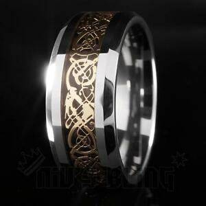 Gold-Celtic-Dragon-Tungsten-Carbide-Carbon-Fiber-Wedding-Band-Bridal-Silver-Ring