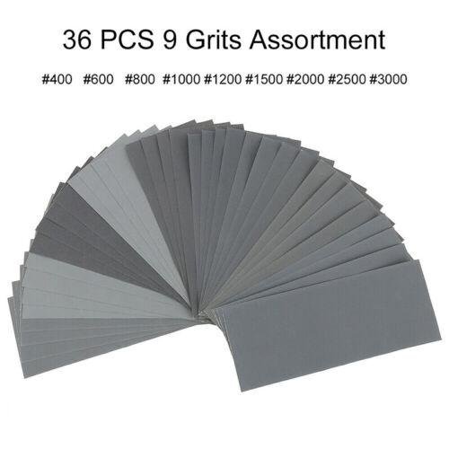 42//36Pcs feuilles ponceuses 120-3000 papier sable mélangé imperméable humide new