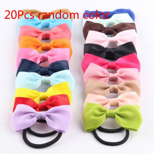 20Pcs//lot Ribbon Bow Kids Girls Elastic Hair Band Hair Rope Hair Accessories US
