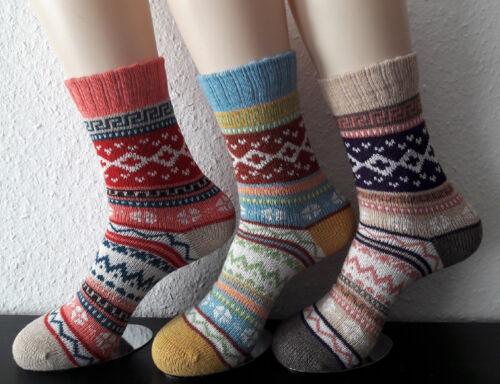 3 Paar Damen Socken Norwegersocken bunt Wolle Baumwolle superweich Fb2 35 bis 42