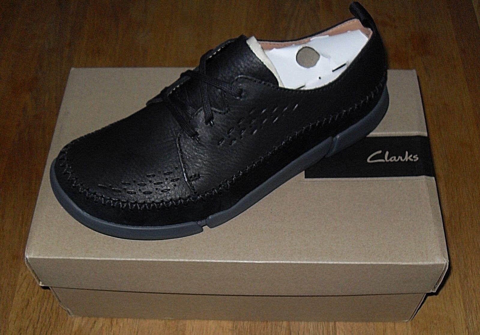 Clarks Trifri Lace Black Leather Mens shoes Size UK 8