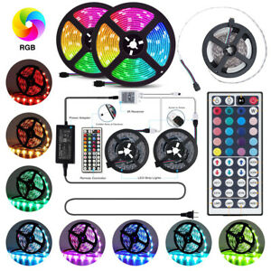LUCE-A-LED-STRISCIA-3528-5050SMD-RGB-5M-300-12V-44Key-CONTROLLER-IR-con-adattatore-di-alimentazione