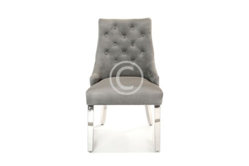 Heston Dining Chair Velvet Metal Leg Quilted Lion Knocker Back Light Deep Grey Light Grey,Deep Grey