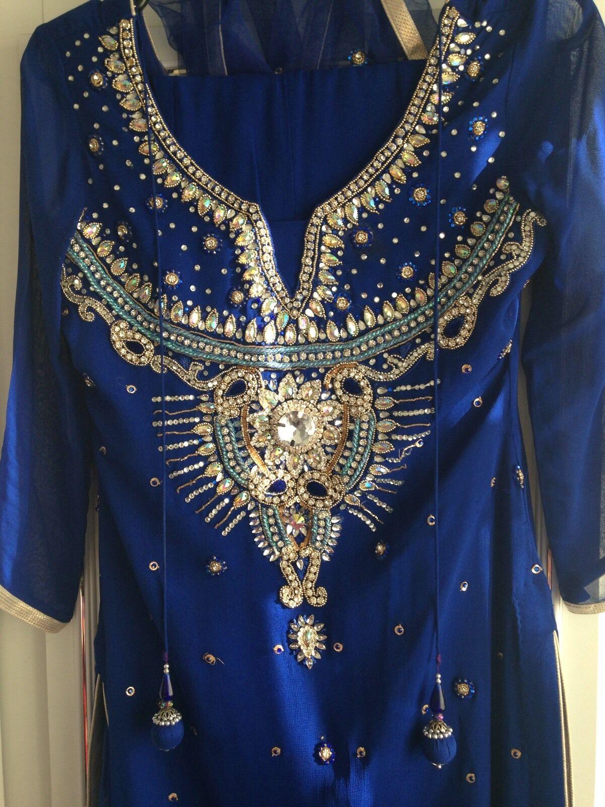 Asian Eid Diwali wedding party Women's Electric bluee Size 8 10 Sharara Suit