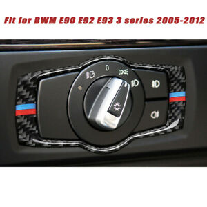 For-BMW-3series-E90-Carbon-Fiber-M-Type-Headlight-Switch-Button-Frame-Cover-Trim