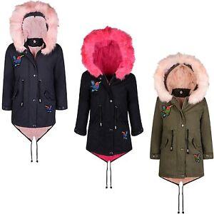 3961ee35652c Girls Winter Coat Kids Hood Padded Parka Jacket Bird Applique Fur ...