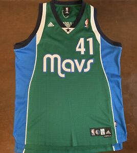 quality design 503d5 8018b Details about Vintage Adidas NBA Dallas Mavericks Dirk Nowitzki Green  Basketball Jersey