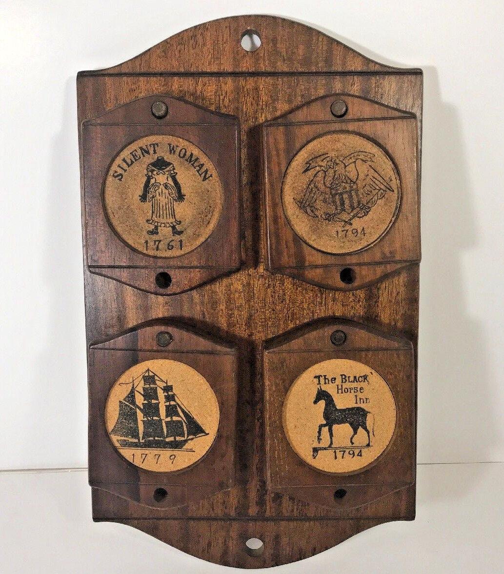 Vintage Enesco Cork Wood Coaster Set (8) Wooden Peg Wall Board Japan Circa 1958