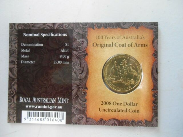 "2008  Coat of Arms UNC $1 Dollar coin "" C Mint Mark Canberra """