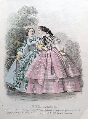 LES MODES PARISIENNE, PARIS FASHION plate 850 antique hand coloured print 1859
