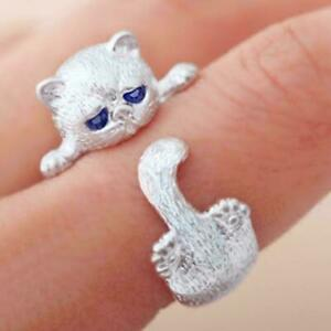 925-Sterling-Silber-gestempelt-Weiss-Gold-Cute-Kitty-Paw-verstellbarer-Ring-J9I4