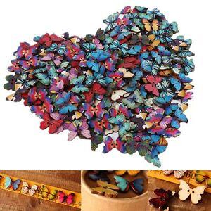 50X-Mixed-Bulk-Butterfly-Phantom-Wooden-Sewing-Buttons-Scrapbooking-2-Holes-NEW