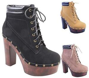 NEW-WOMENS-LADIES-CHUNKY-BLOCK-HEEL-PLATFORM-LACE-UP-ANKLE-BOOTS-SHOES-SIZE-3-8