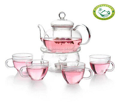 Glass Teapot Heat Resistant 800ml/27.1oz For Blooming tea + 4 Cups + Warmer