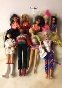 Lot-Of-9-Vintage-1960s-1990-039-s-Mattel-Barbie-Dolls-Clothes-And-Some-Accessories