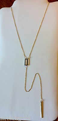 Long Bar Necklace-14 KT Gold Plated Solid Sterling Silver 925-Y-Geometric-Sexy