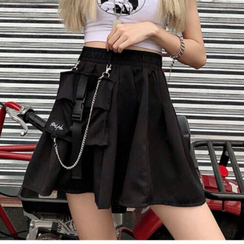 Ladies Girls Punk Cargo Skirt Retro Pocket Pleated Japanese Goth Chain Fashion