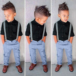 ad2de4029 3PCS Kids Baby Boys Long Sleeve T-Shirt Tops+Braces+Trousers Clothes ...