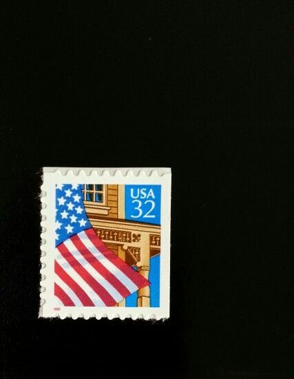 1997 32c Flag over Porch, Booklet Single, Red SA Scott