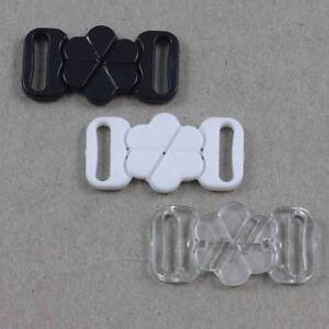 2-BIKINI-CLIPS-HOOK-amp-SNAP-PLASTIC-CLASPS-10mm-STRAP-BRA-FASTENER-HABERDASHERY