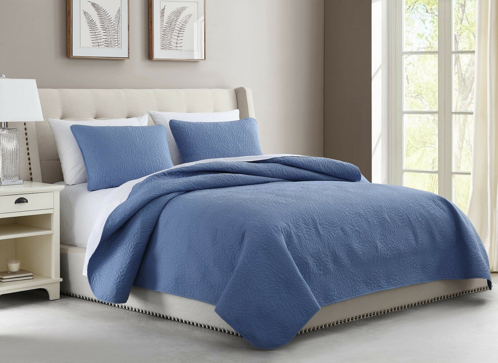 Aidee coverlet Set Lightweight Thermal Pressing Leafage Beddings Smoky blueeeeee