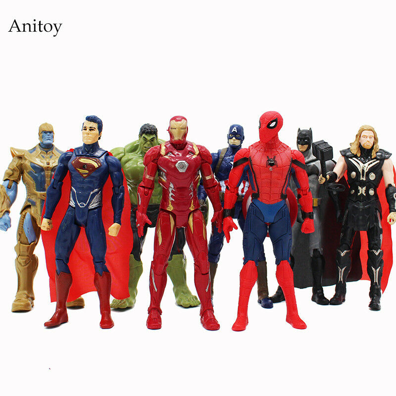 8 pcs set Marvel Super Heroes Iron Man Spiderman Captain America Thor Hulk Thano