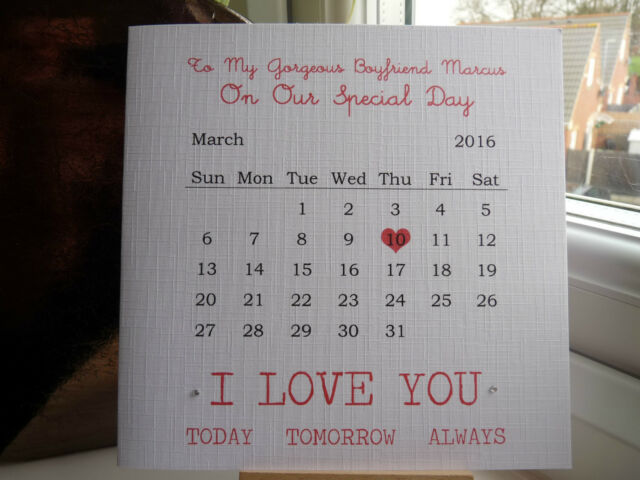 Handmade personalised anniversary calendar card boyfriend girlfriend handmade personalised anniversary calendar card boyfriend girlfriend husband etc thecheapjerseys Choice Image