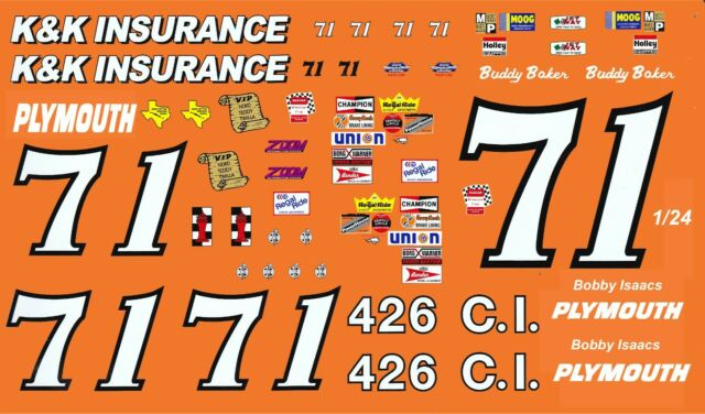 #71 Bobby Isaac K&K Insurance 1/24th Scale Waterslide ...