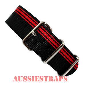 NATO-G10-BLACK-RED-Stripes-4-RING-NYLON-military-diver-039-s-watch-strap-band