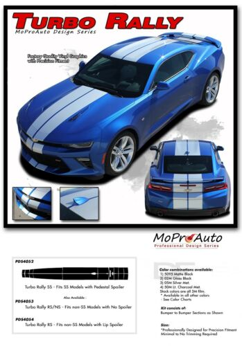 TURBO RALLY 2016-2018 Chevy Camaro Racing Graphic Hood Decals 3M Pro Vinyl