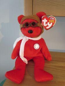 Ty Beanie Babies Bearon, w/ googles, red bear, 2003, Mint w/ Tag