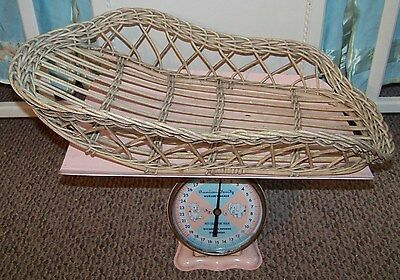 ~ANTIQUE Infant BABY weight scale Replacement basket~WOOD Part Only